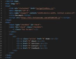 کد HTML منو